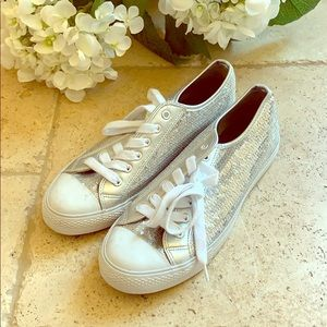 Converse style silver sequin sneakers 10